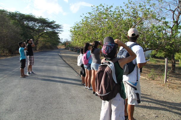 Young people looking through binoculars at birds at roadside