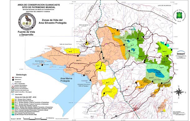 A map of ACG in Costa Rica zoned into the habitat-classification scheme called Holdridge Life Zones