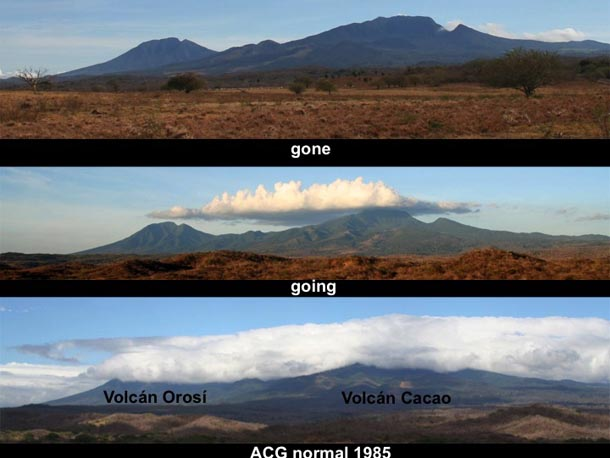 3 photos of Orosi and Cacao volcanoes, one with heavy clouds, one with fewer higher clouds, and one with no clouds