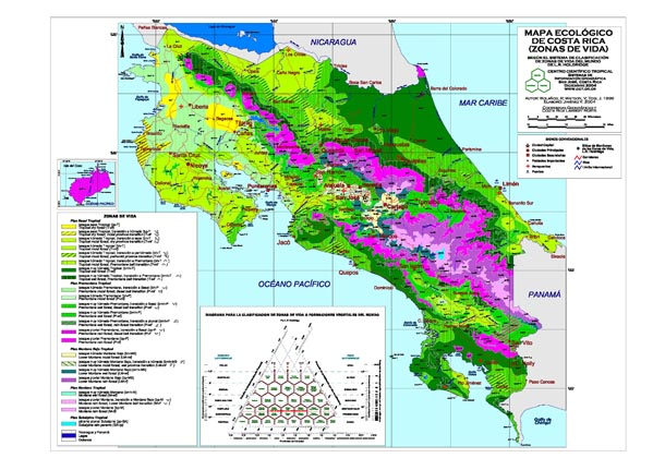 Brightly colored map of country of Costa Rica showing Holdridge life zones